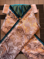Metallic Rose Stock Tie with Teal Accents