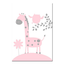 affiche girafe rose et gris chambre fille