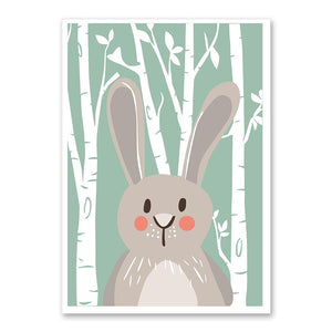 Affiche lapin scandinave pastel