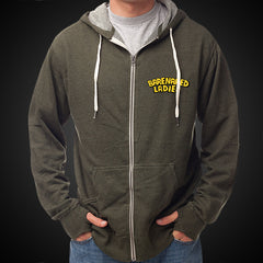 BURST ARMY GREEN HEATHER ZIP HOODIE