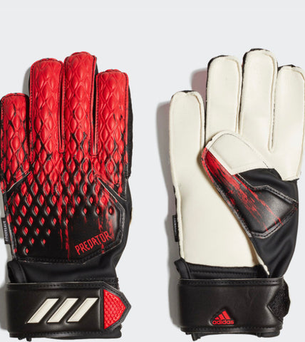 Jr. Adidas Predator 20 Match Fingersave Goalkeeper Gloves - Black/Red