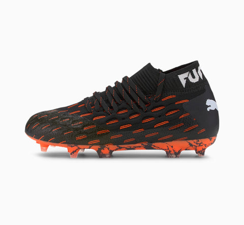 Puma Future 6.1 Netfit FG/AG Jr - BLACK/WHITE/SHOCKING ORANGE