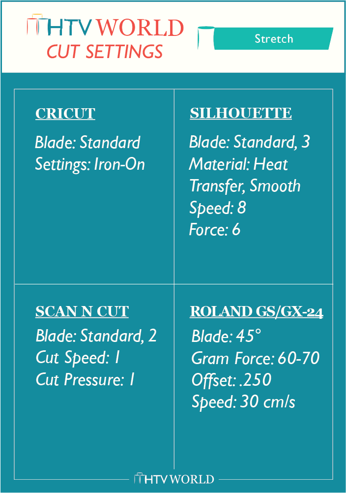 Siser EasyWeed Stretch Cut Settings Chart