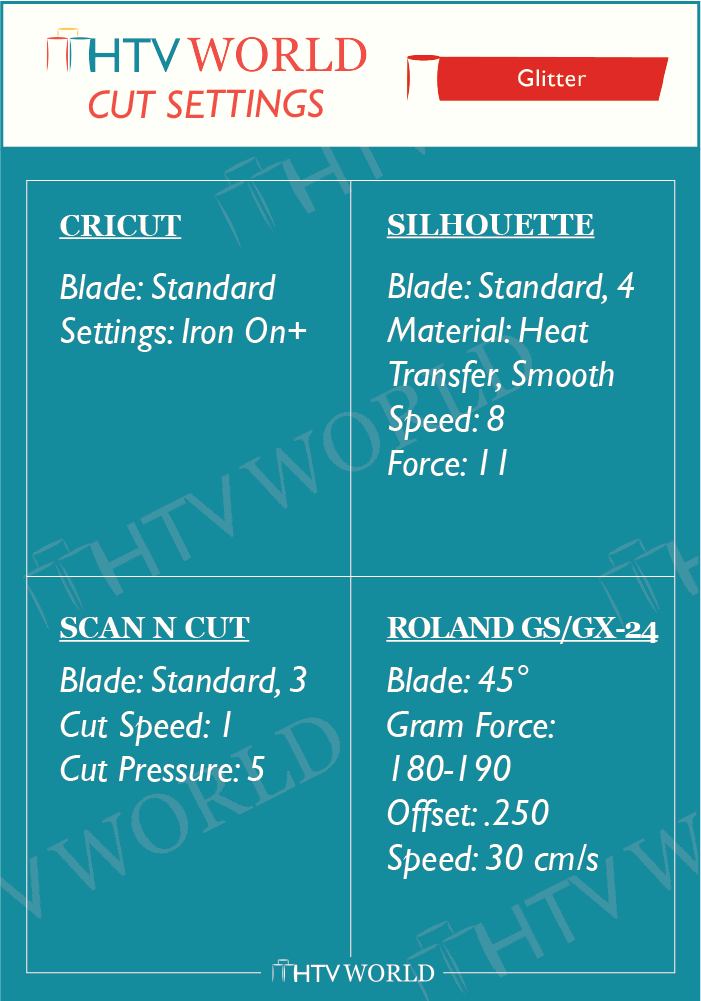 Glitter heat transfer vinyl cut settings chart