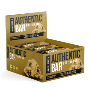 Jacked Factory's 6-pack of Chocolate Chip Cookie Dough Authentic Bars in a brown box with cookie dough image