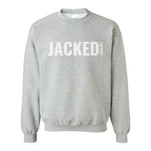Light grey crewneck with Jacked Factory logo