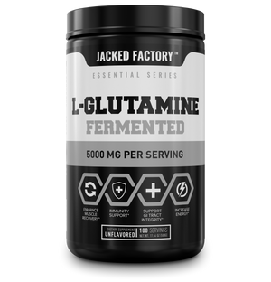 Jacked Factory's L-Glutamine Fermented (100 servings) in a black bottle with white and grey label