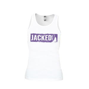 Jacked Factory's men's white tank with purple logo