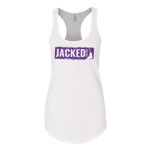 Jacked Factory's women's white tank with purple logo
