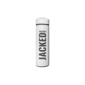 White Jacked Factory Thermos with black logo
