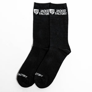 Jacked Factory black socks with white shield logo