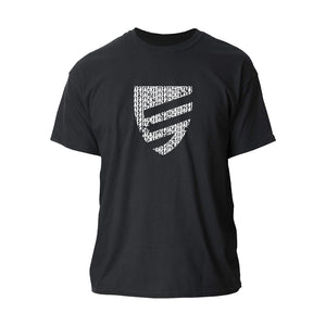 Jacked Factory's black colored t-shirt with a signature white shield logo in the center, on a white background