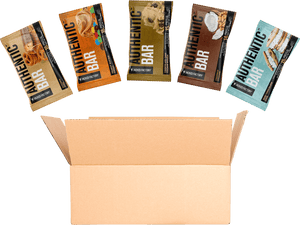An open box of Jacked Factory's Authentic Bars including one of each bar flavor