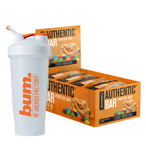 Jacked Factory's 6-pack of Peanut Butter Candy Chip Authentic Bars in an orange box with a peanut butter and candy image next to a white and orange bum. shaker bottle