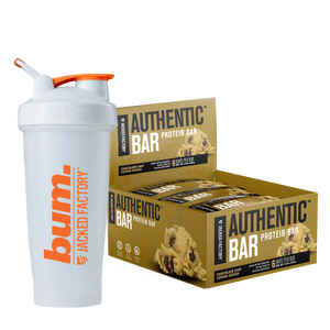 Jacked Factory's 6-pack of Chocolate Chip Cookie Dough Authentic Bars in a brown box with cookie dough image next to a white and orange bum. shaker bottle