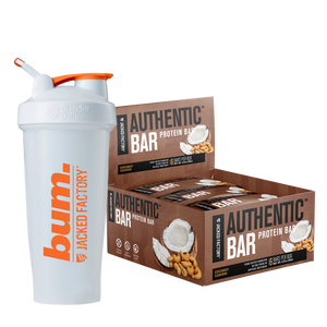 Jacked Factory's 6-pack of Coconut Cashew Authentic Bars in a brown box with coconut & cashew image next to a white and orange bum. shaker bottle