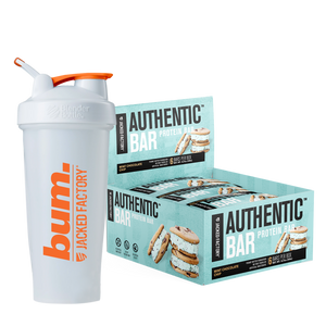 Jacked Factory's 6-pack of Mint Chocolate Chip Authentic Bars in a light blue box with a mint ice cream cookie sandwich image next to a white and orange bum. shaker bottle
