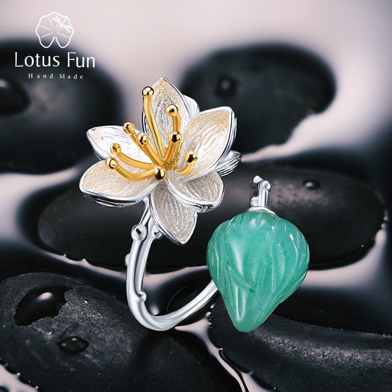 f7994dfd9689e Lotus Fun Real 925 Sterling Silver Natural Aventurine Gemstone Fine Jewelry  Flower Ring Lotus Whispers Rings for Women Bijoux