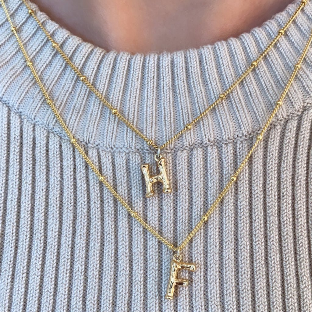 Double initial gold necklace
