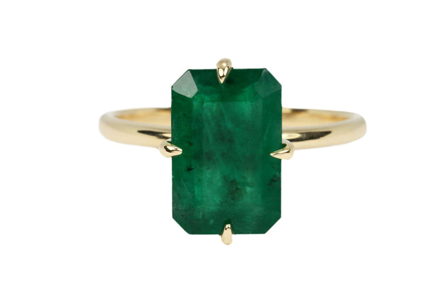 3.55 Carat Natural Emerald Dark Green Solitaire Ring