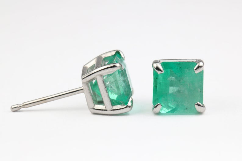 2.15tcw Emerald Earrings 14k