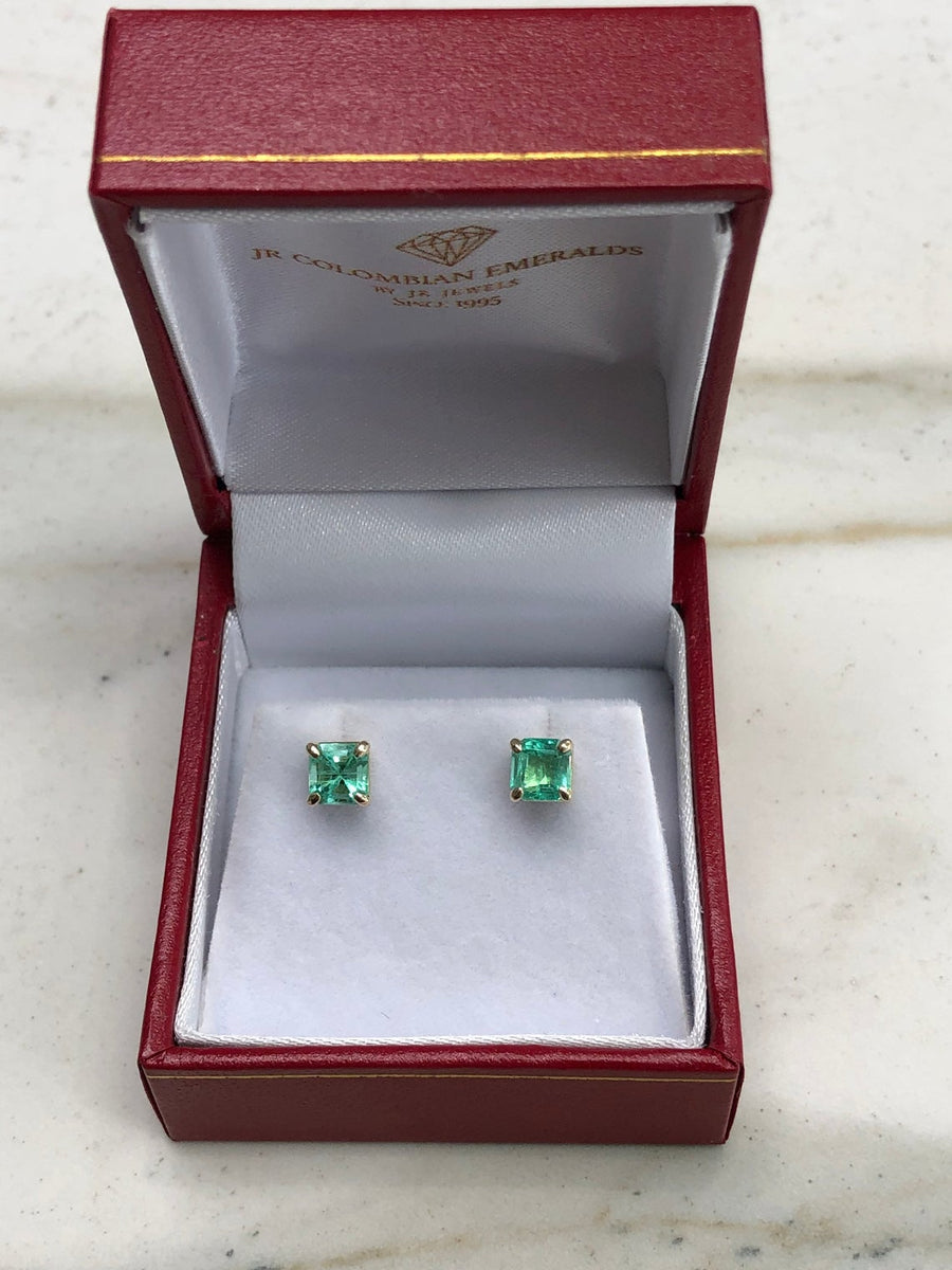 1.05tcw Colombian Emerald Asscher Cut Stud Earrings 14K