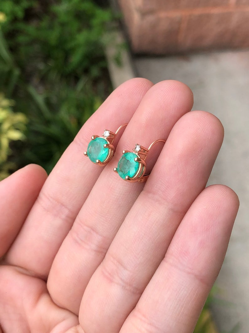 3.10tcw Colombian emerald and Diamond Lever Back Earrings