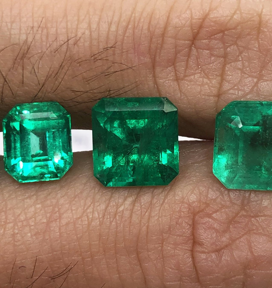 Completed Custom 3.59 Carat Colombian emerald and trapezoid three stone diamond engagement ring 18K