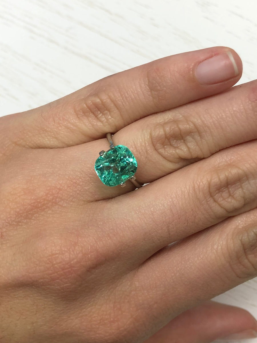 Bespoke 4.59tcw Cushion Cut Emerald & Diamond Solitaire With Accents Ring 14K Rose Gold