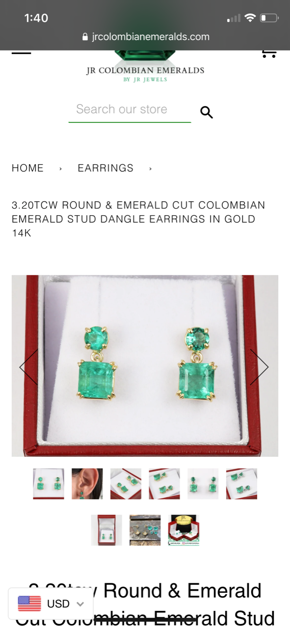 Second Payment 8.60tcw Colombian Emerald Drop & Dangle Stud Earrings, 14K Y