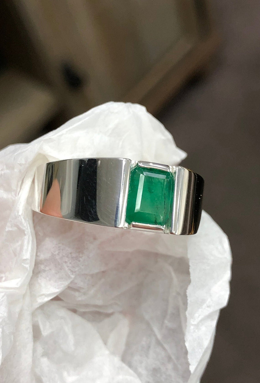 1.22 Carats Mens Emerald Cut Emerald Sterling Silver Ring
