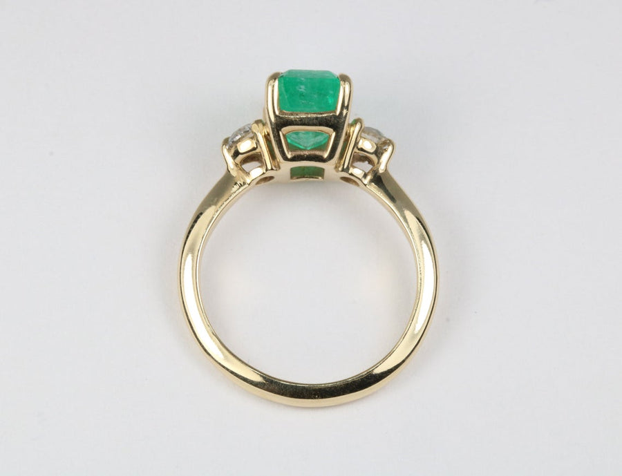 2.60tcw Three Stone Emerald & Diamond Ring 14K