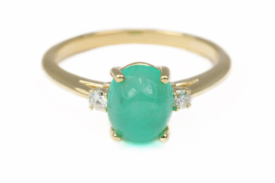 2.46tcw Colombian Emerald Three Stone Cabochon & Diamond Ring 14k