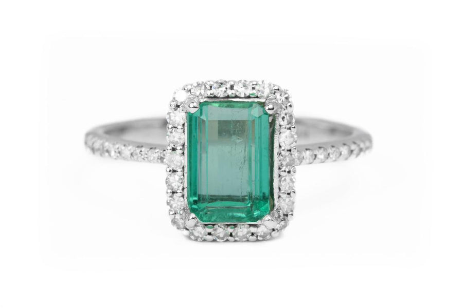 1.63tcw Colombian Emerald Solitaire Halo Engagement Ring 14K