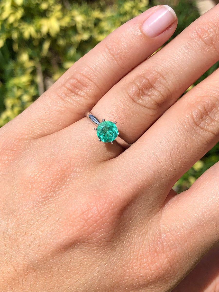 1.17 Carat Round Cut Colombian Emerald Solitaire Engagement Ring