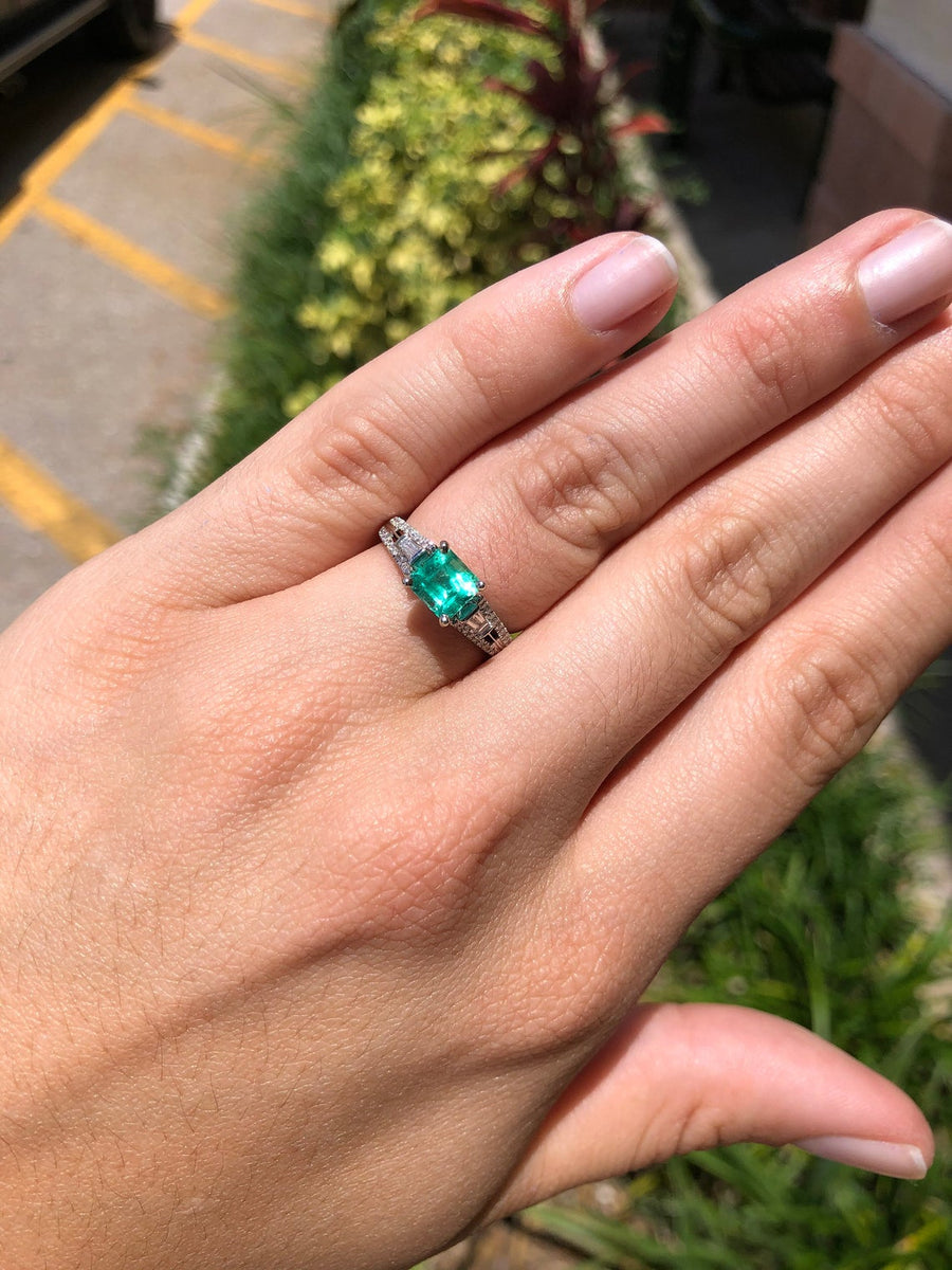 1.68tcw White Gold Emerald Solitaire with Diamond Accent Ring