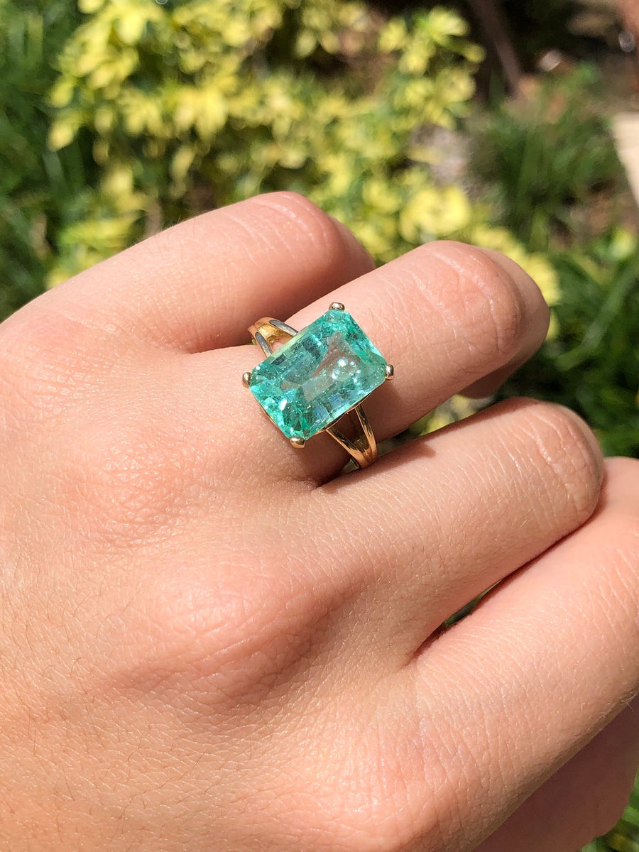 7.18 Carat Large Emerald Cut Colombian Emerald Solitaire 14K