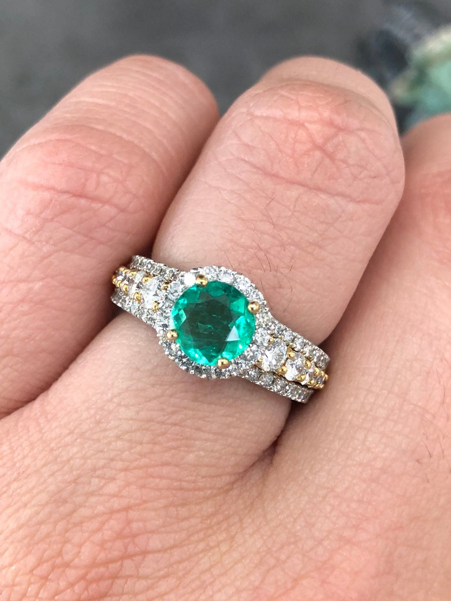 2.79tcw Two Toned Round Emerald & Diamond Halo Engagement Ring 14K