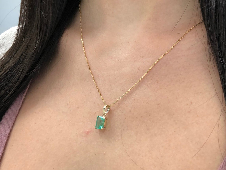 2.25 Carat Colombian Emerald Pendant 14K Yellow Gold