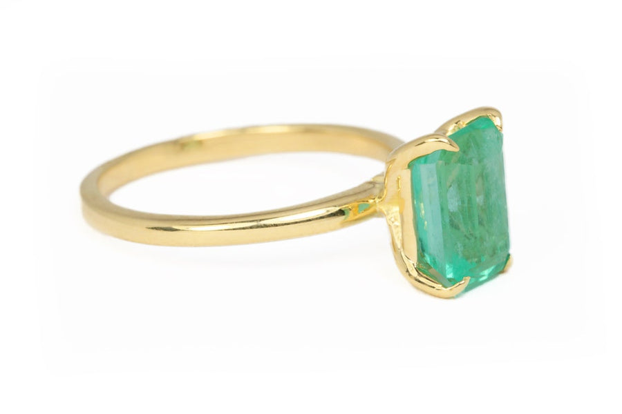 1.78 Carat Colombian Emerald Solitaire Engagement Ring 18K