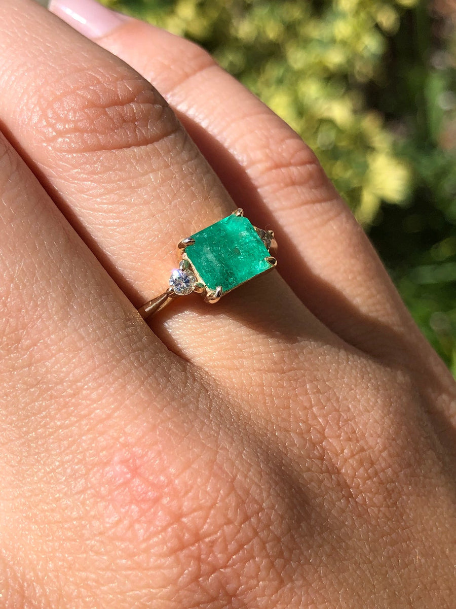 1.96tcw East to West Three Stone Emerald & Diamond Ring 14K Yellow Gold