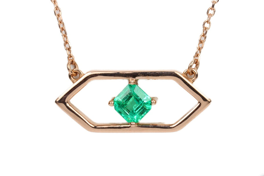 0.38pt 14K Rose Gold Solitaire Emerald Necklace