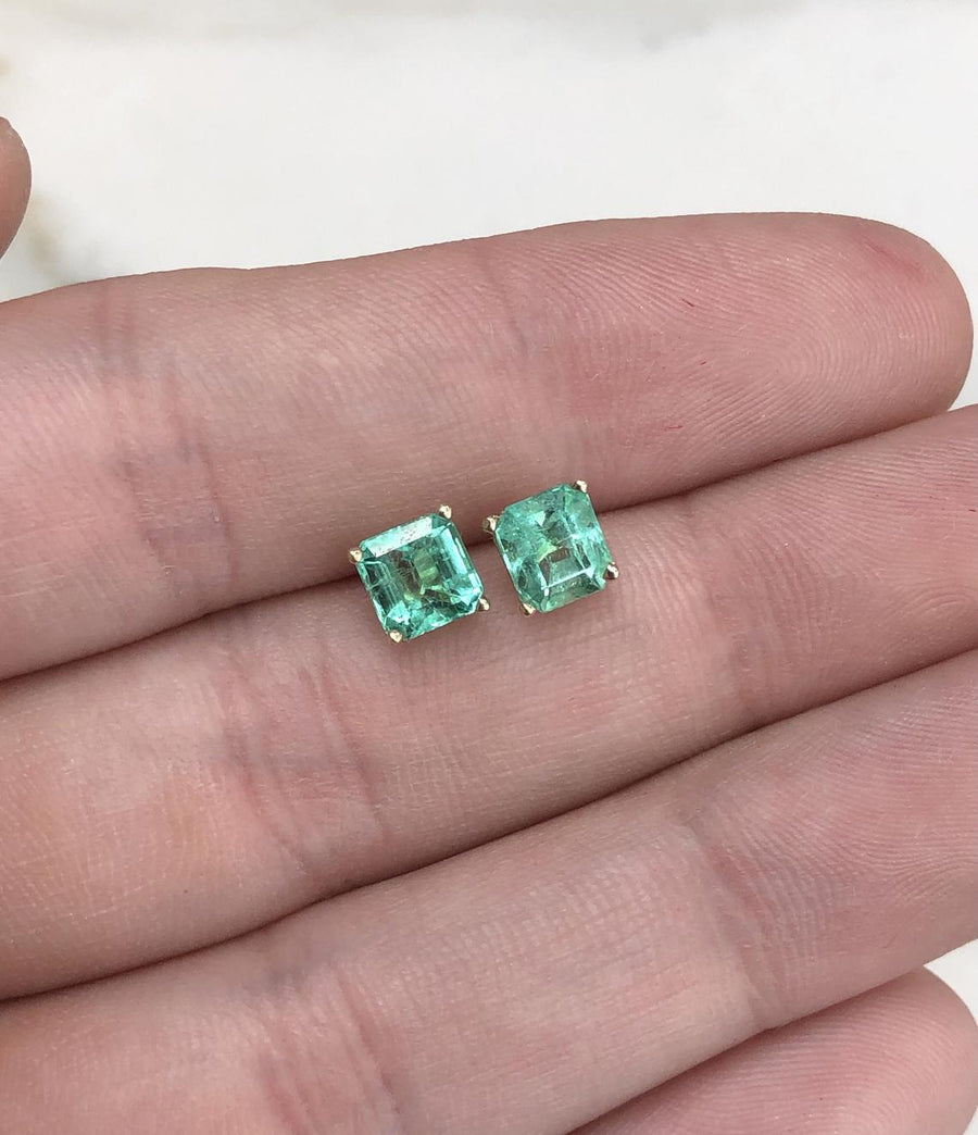1.90tcw 14K Asscher Cut Emerald Stud Earrings