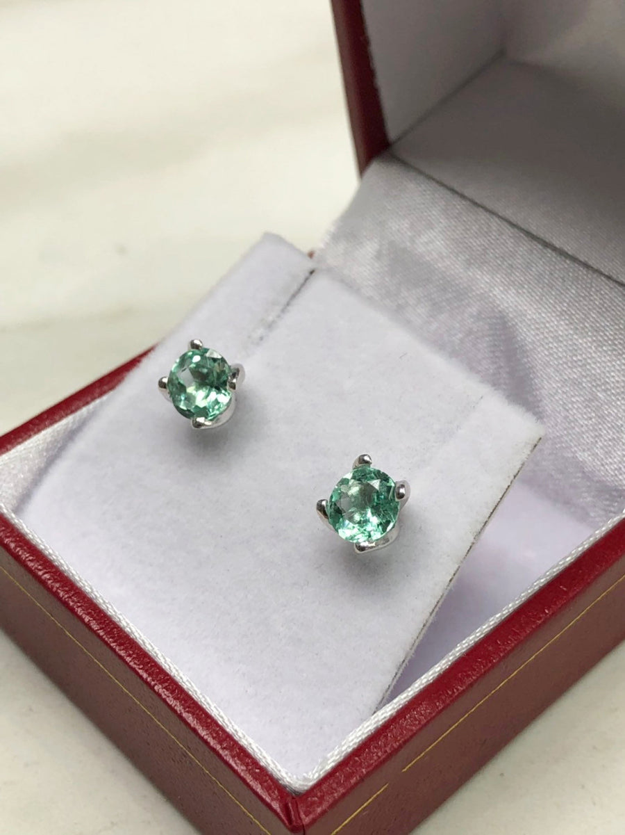 1.50tcw Round Emerald Four Prong Studs White Gold 14K