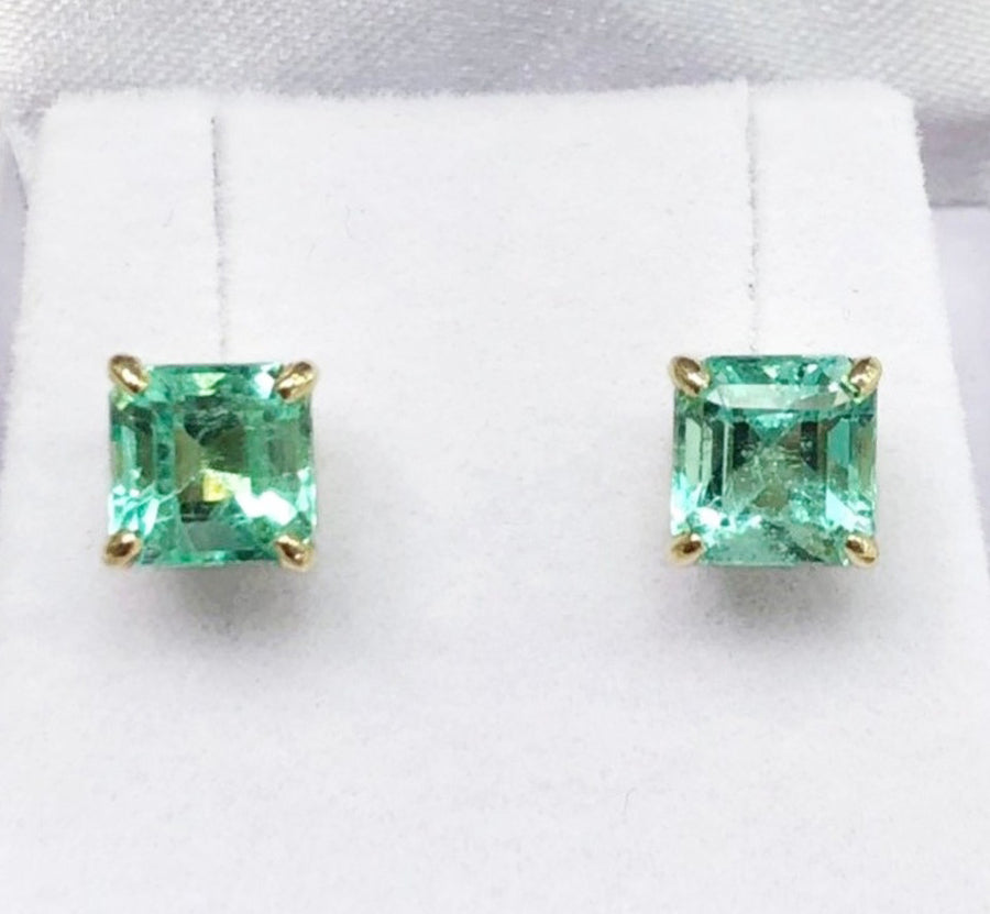 3.0cts Colombian Emerald Solitaire Stud Earrings 18K