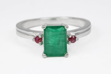 1.30tcw Three Stone Emerald & Pink Sapphire Ring Silver Engagement Ring