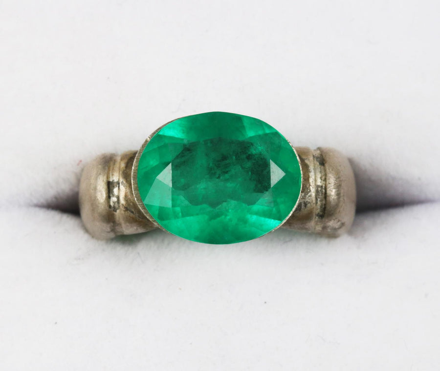 3.38 Carat Natural Unset Oval Colombian Emerald 12x10mm