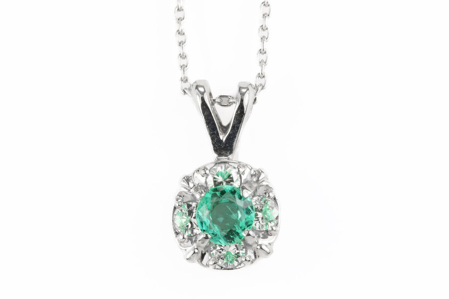 0.47tcw Natural Emerald & Diamond Halo Pendant 14k
