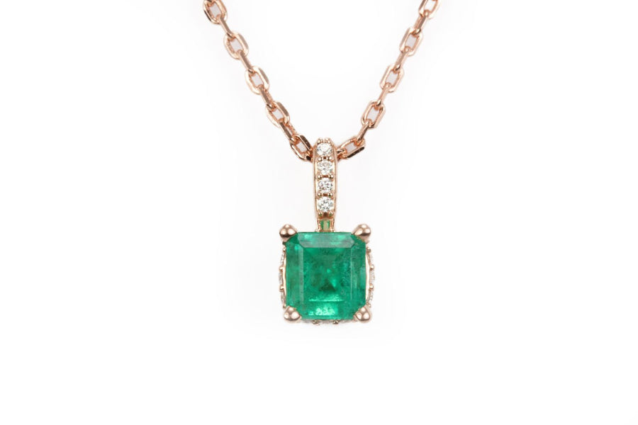 0.55tcw Natural Emerald & Diamond Accent Necklace