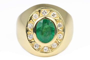 2.10tcw Men's 18K Gold Natural Emerald Oval & Diamond Halo